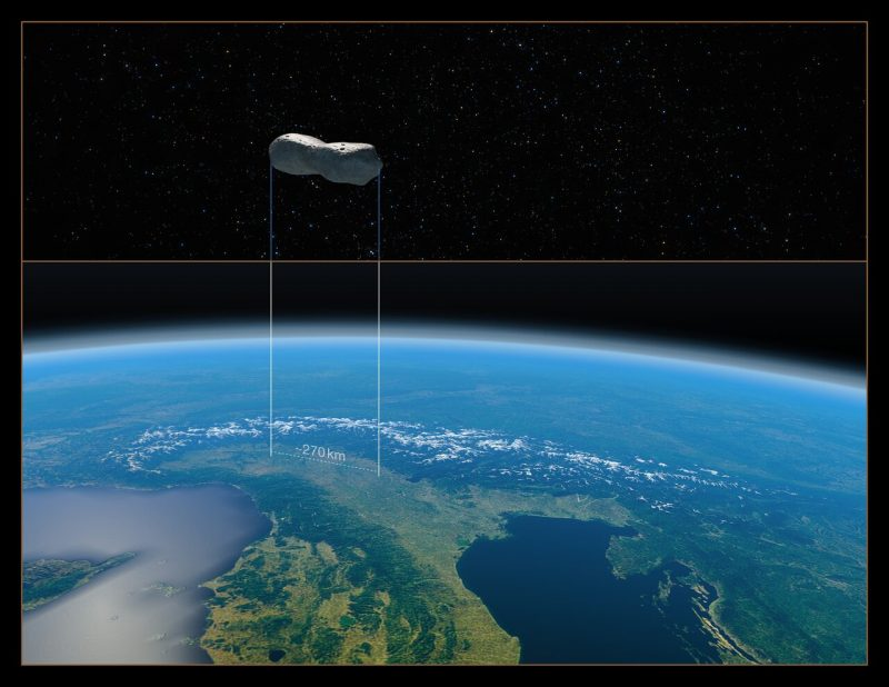 Dog-bone shape floating high over view of Italy from orbit, with curve of Earth in background.
