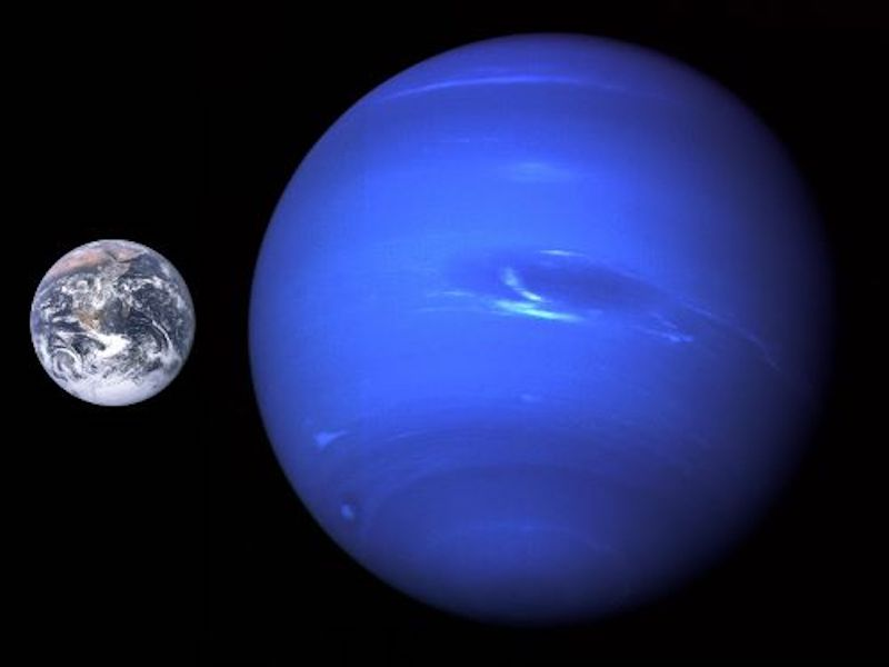 Earth, with much large blue-banded planet next to it.