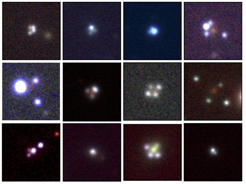 Twelve images: each with central bright dot with dots around it on dark background.