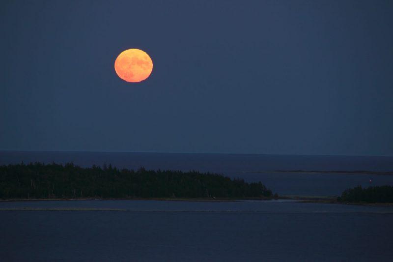 Full moon rising over dim blue sea.