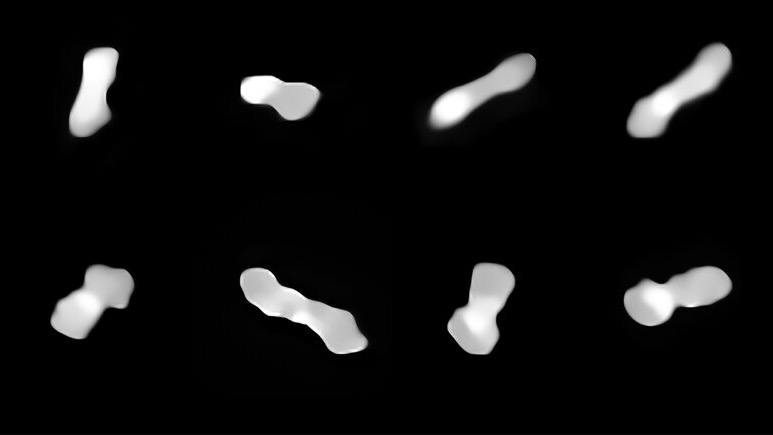 Eight differing images of a gray and white elongated object, larger at the ends, on a black background.