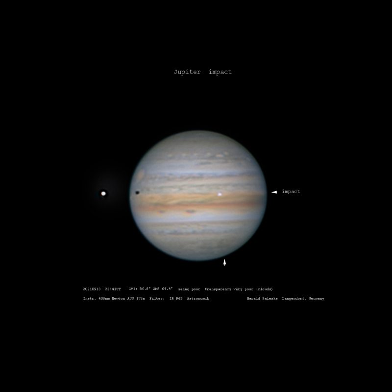 Impact on Jupiter: moon Io and its shadow on one side and flash of light on the other.