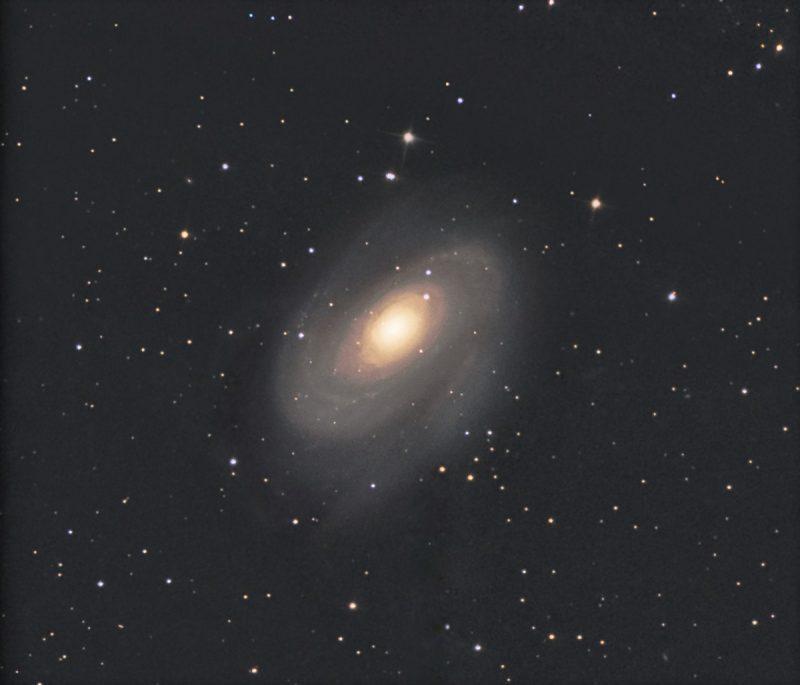 Spiral galaxy, bright at center and diffuse outward.