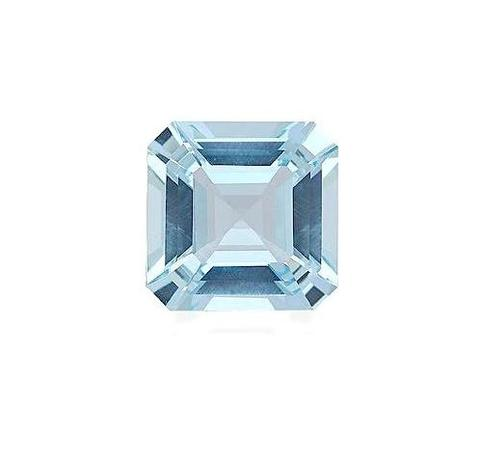Pale blue, square with rounded corners faceted jewel.