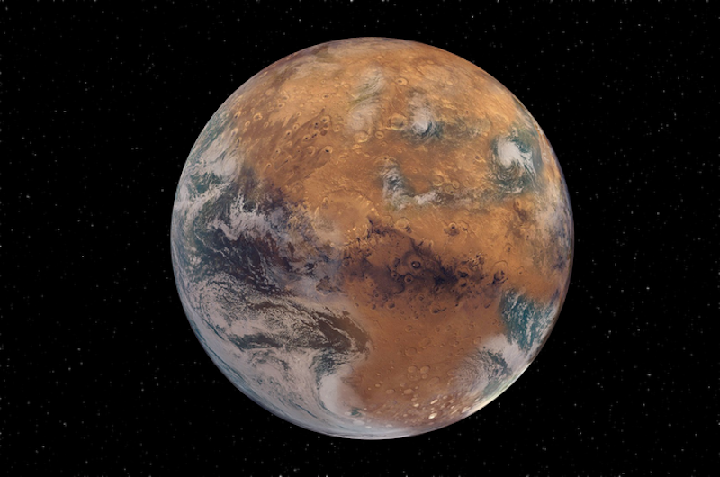Reddish but Earth-like planet with oceans and stars in background.