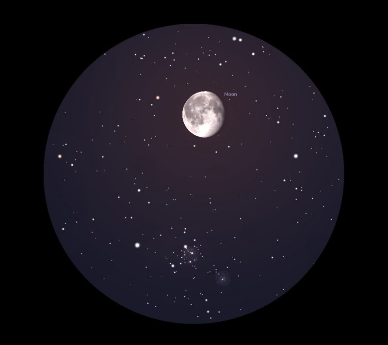 Moon and star cluster below.