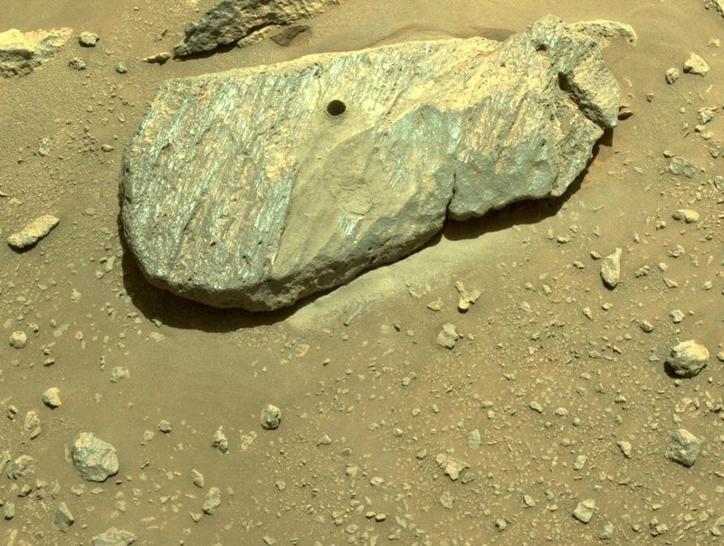 1st Martian rock cored by Perseverance rover - large flat rock with marmorations, with a hole in it, lying on a beige surface with smaller rocks and pebbles.