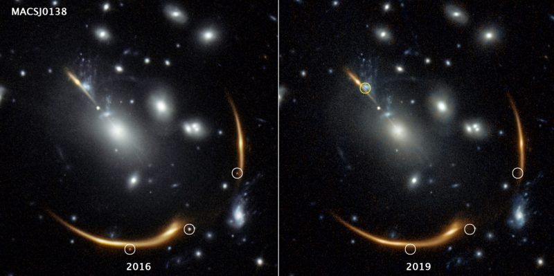 Rerun of a supernova blast: Two images, side by side, of arcs of light in starry space with small dots circled.