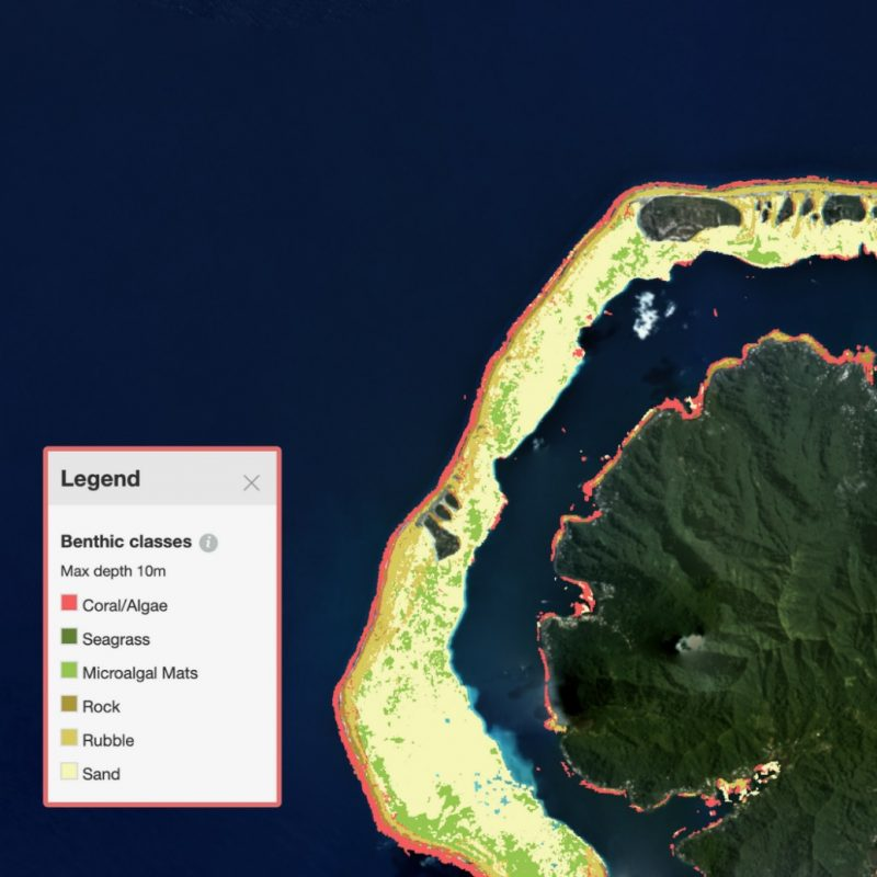 A new coral reef atlas: Satellite image of an island in green with a wide yellow ring around it.