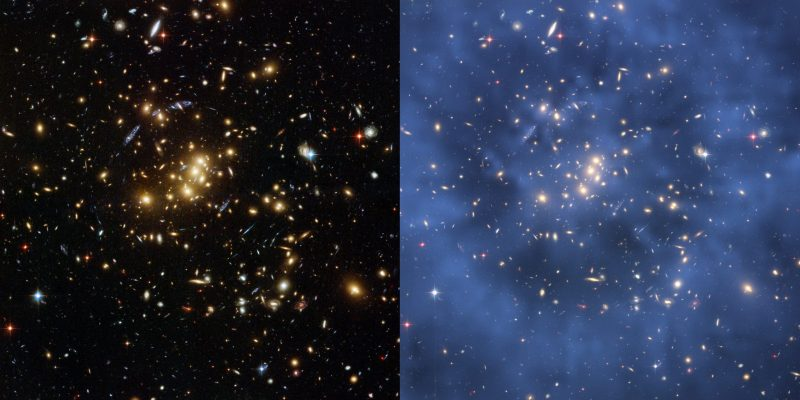 Left side black and gold galaxies, right side blue overlain in smoky rings.