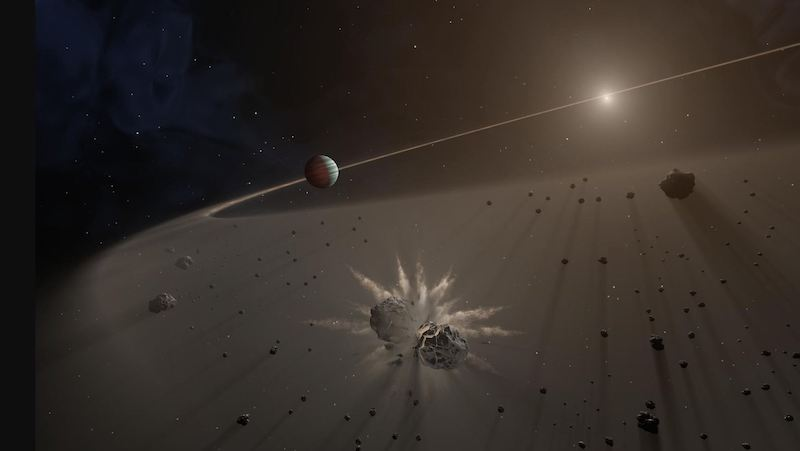 Missing impact debris: Two rocks in space violently colliding and small, bright sun in distance.