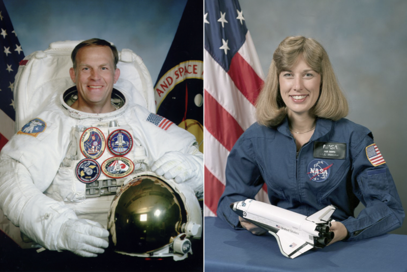 Formal NASA portraits of man in space suit, woman in flight suit.