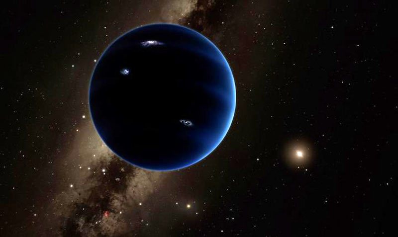Super-Earth, mini-Neptune and sub-Neptune exoplanets: Large blue planet with local star in background.