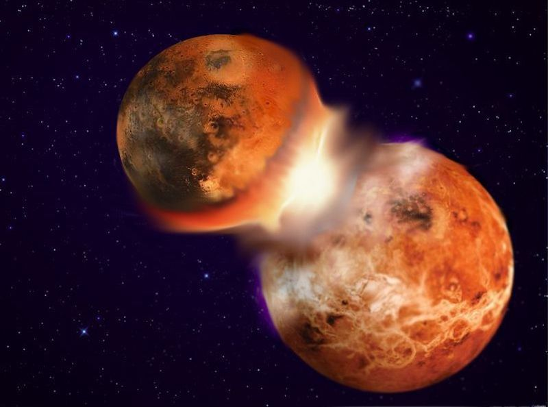 Two red-hot rocky planets colliding in space.