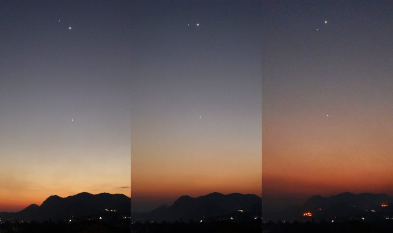 Conjunction of Venus and Spica in the western twilight.