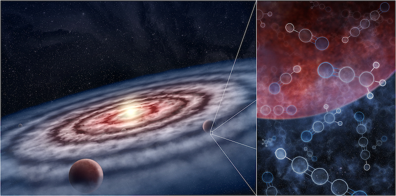 Planets are born in cloudy disk around a star. Inset showing diagrams of molecules.