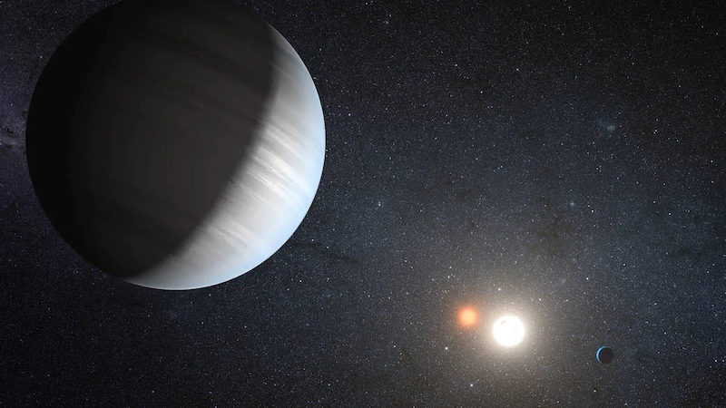 Large planet with bands of clouds. Another planet, two suns and stars in background.