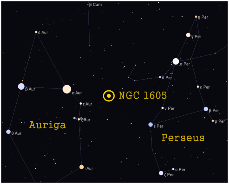 Star map showing location of NGC 1605 between constellations Perseus and Auriga.